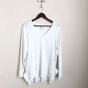 Anthro Postmark Ruffle Hem Heather Sweater